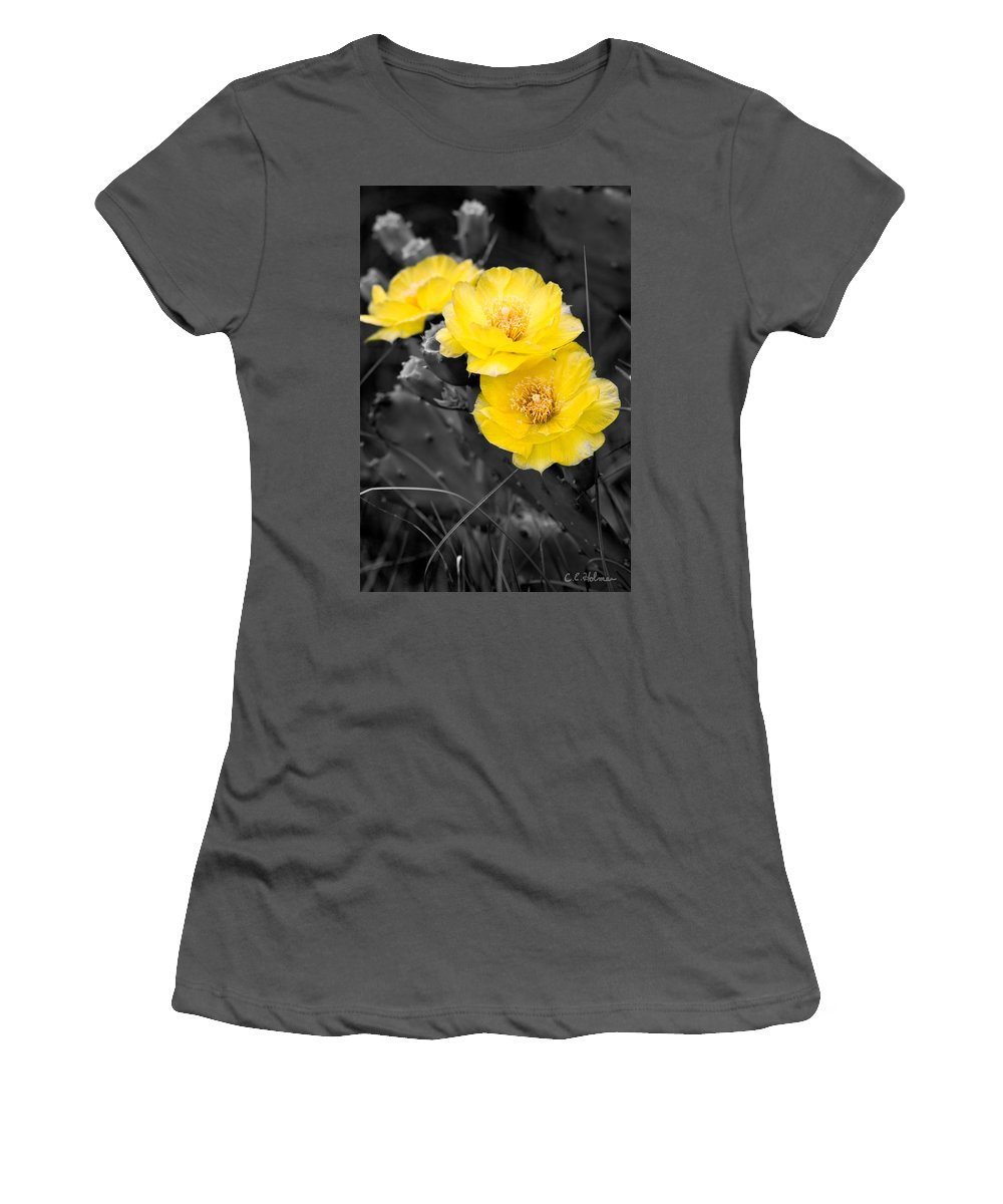 Cactus Women's T-Shirt (Athletic Fit) featuring the photograph Cactus Blossom by Christopher Holmes