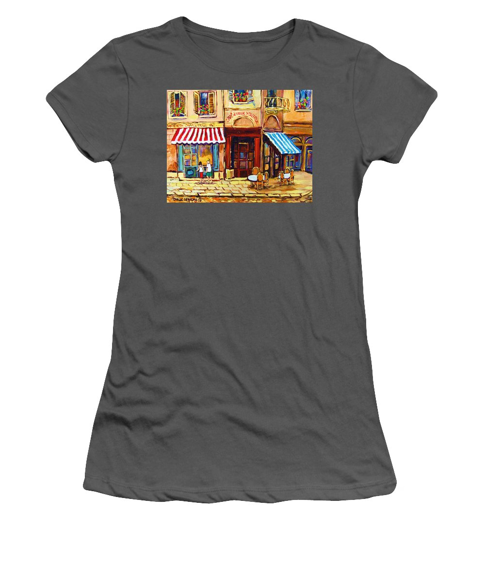 Old Montreal Outdoor Cafe City Scenes Women's T-Shirt (Athletic Fit) featuring the painting Cafe De Vieux Montreal With Couple by Carole Spandau