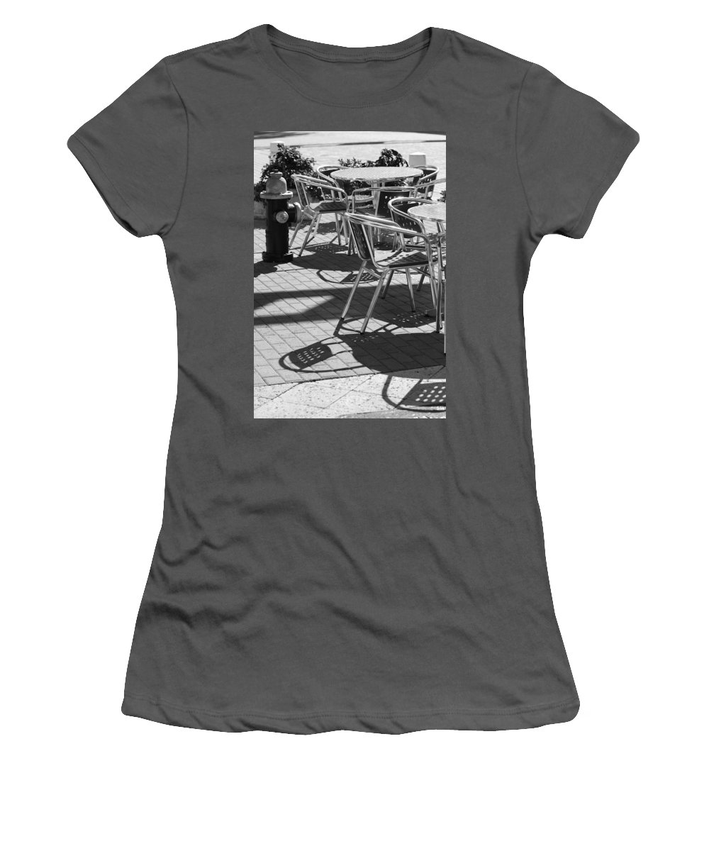 Fire Hydrant Women's T-Shirt (Athletic Fit) featuring the photograph Cafe Hydrant by Rob Hans