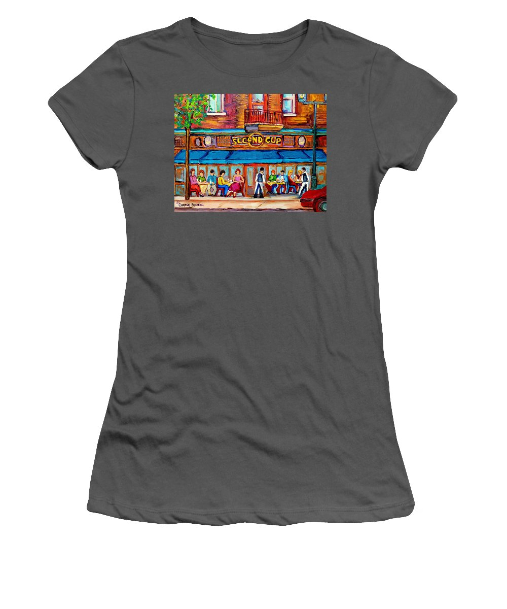 Cafe Second Cup Terrace Montreal Street Scenes Women's T-Shirt (Athletic Fit) featuring the painting Cafe Second Cup Terrace by Carole Spandau