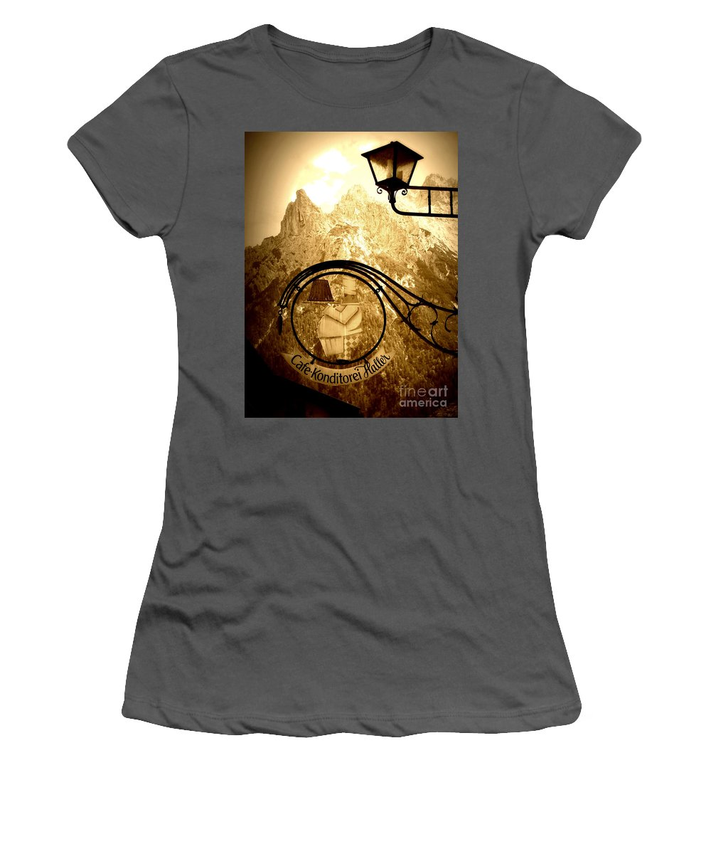 Cafe Sign Women's T-Shirt (Athletic Fit) featuring the photograph Cafe Sign In Bavarian Alps by Carol Groenen