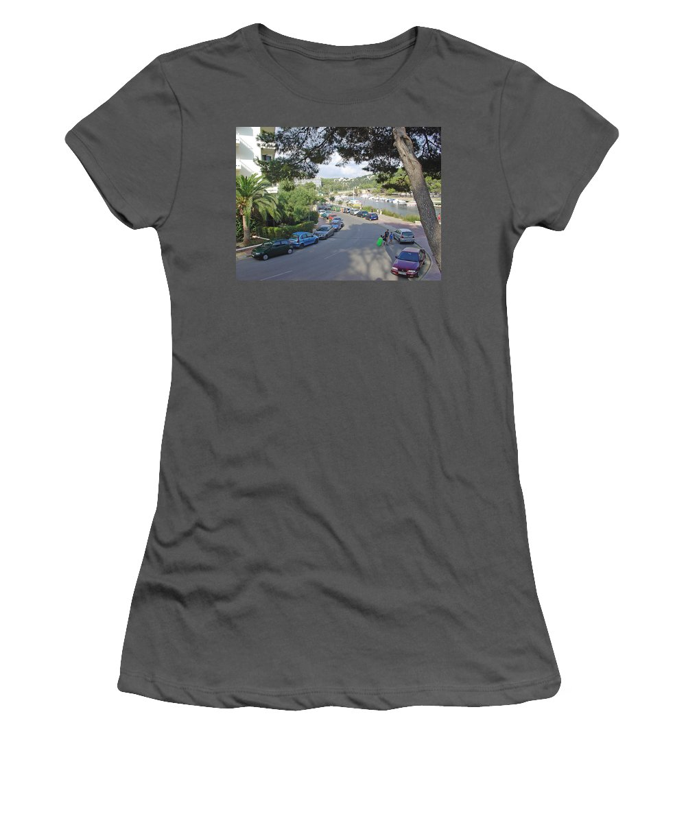 Minorca Women's T-Shirt (Athletic Fit) featuring the photograph Cala Santa Galdana by Rod Johnson