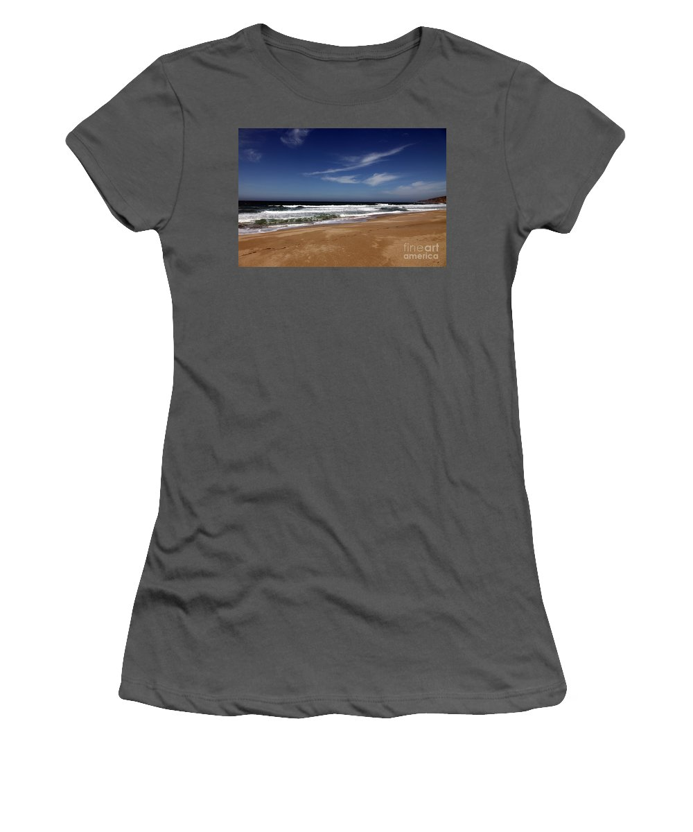 scott Creek Beach Women's T-Shirt (Athletic Fit) featuring the photograph California Coast by Amanda Barcon