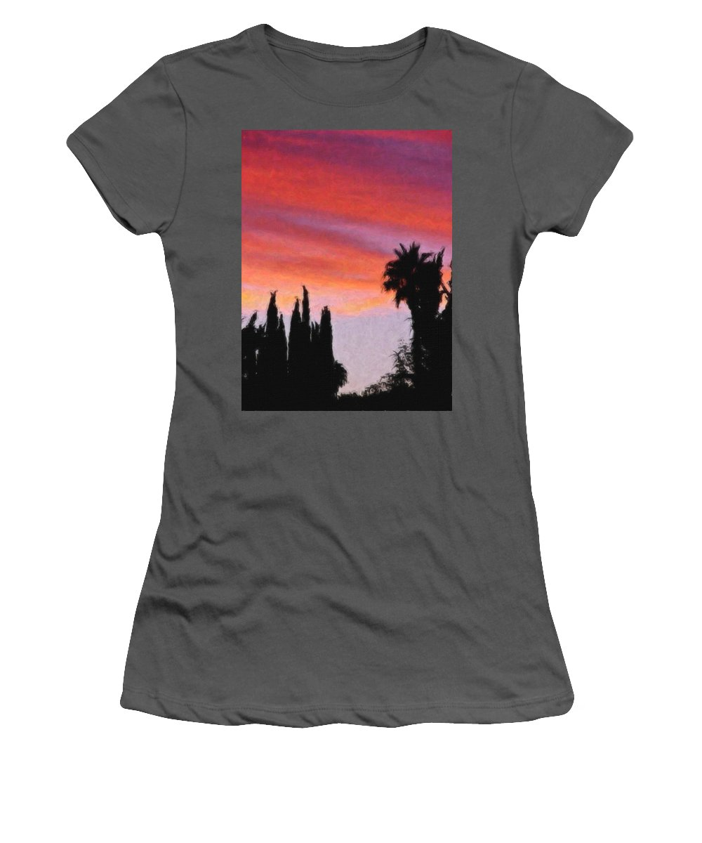 California Women's T-Shirt (Athletic Fit) featuring the painting California Sunset Painting 3 by Teresa Mucha