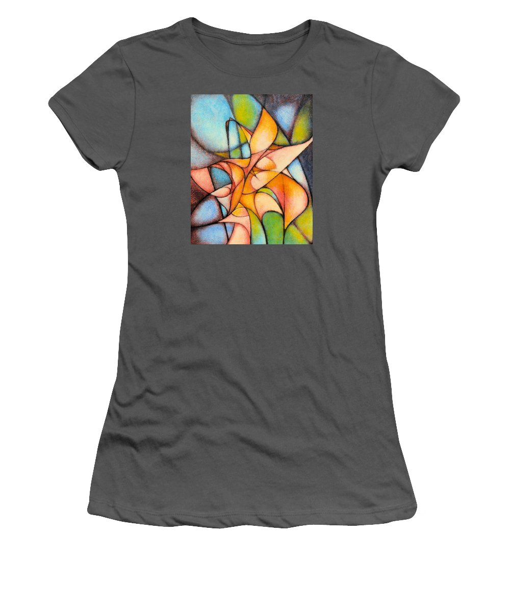 Contemporary Women's T-Shirt (Athletic Fit) featuring the painting Calla Lillies by Kevin Lawrence Leveque