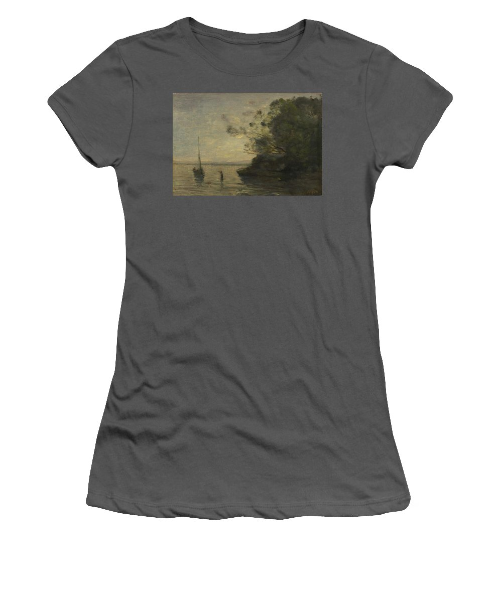 Jean Women's T-Shirt (Athletic Fit) featuring the digital art Camille Corot  Evening On The Lake by PixBreak Art