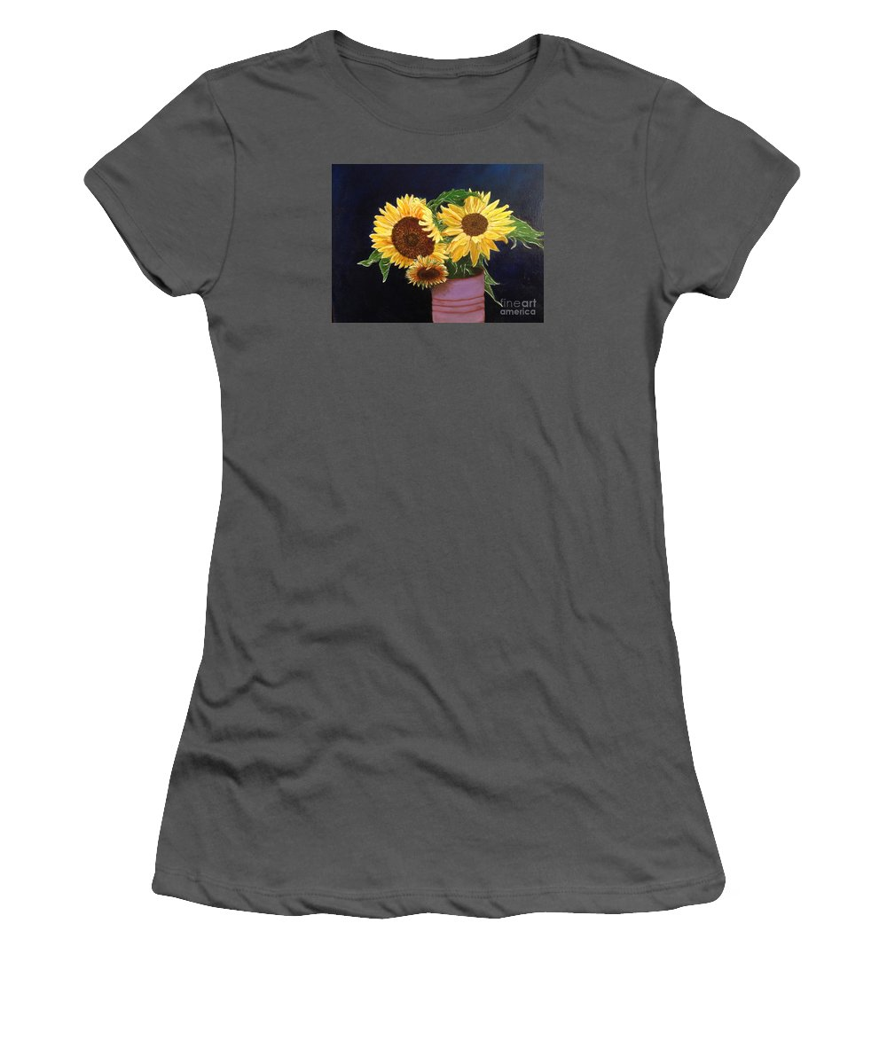 Sunflowers Women's T-Shirt (Athletic Fit) featuring the painting Can Of Sunflowers by Diane Donati