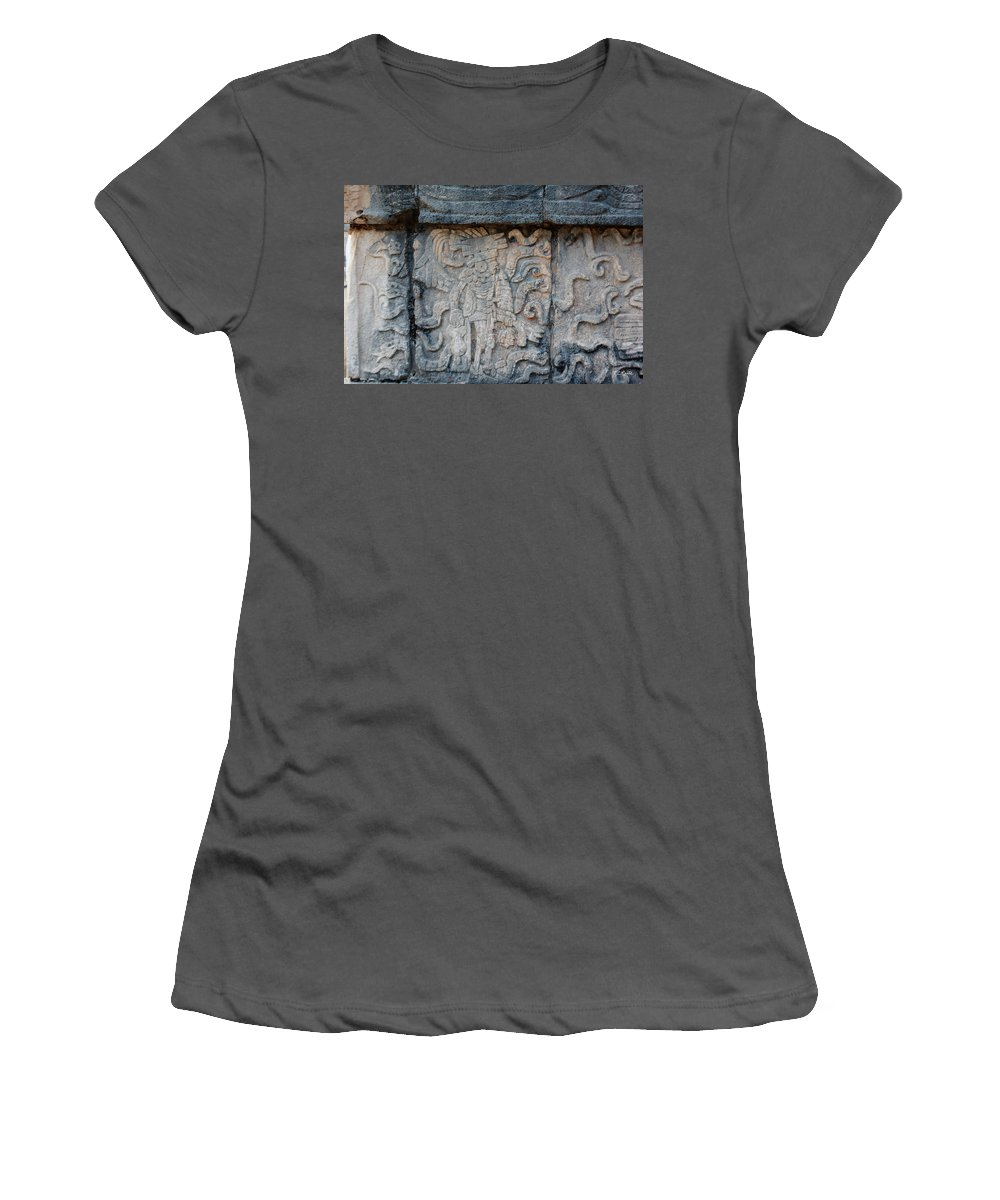 Cancun Women's T-Shirt (Athletic Fit) featuring the photograph Cancun Mexico - Chichen Itza - Mosaic Wall by Ronald Reid