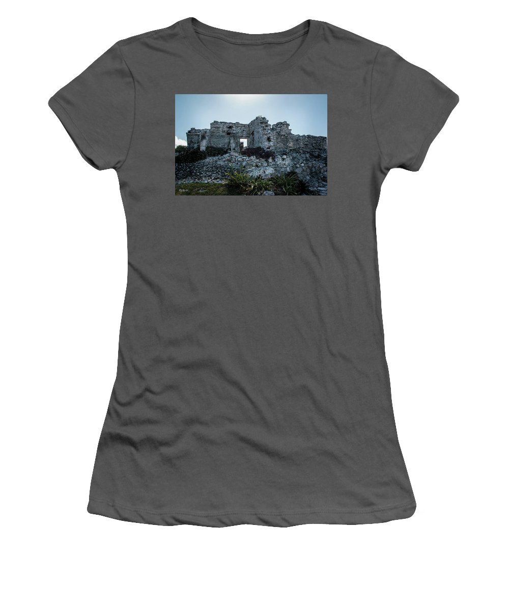 Cancun Women's T-Shirt (Athletic Fit) featuring the photograph Cancun Mexico - Tulum Ruins - Palace by Ronald Reid