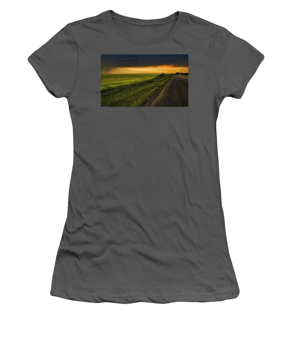 Canola Women's T-Shirt (Athletic Fit) featuring the photograph Canola And The Road Ahead by Wayne Sherriff