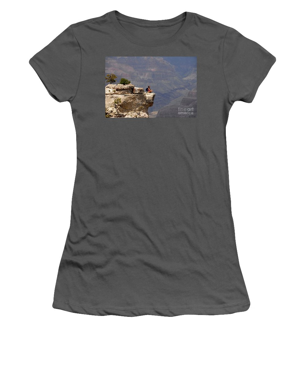 Grand Canyon National Park Arizona Women's T-Shirt (Athletic Fit) featuring the photograph Canyon Thoughts by David Lee Thompson