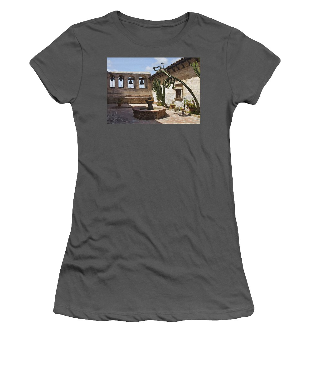 Mission Women's T-Shirt (Athletic Fit) featuring the digital art Capistrano Mission Courtyard by Sharon Foster