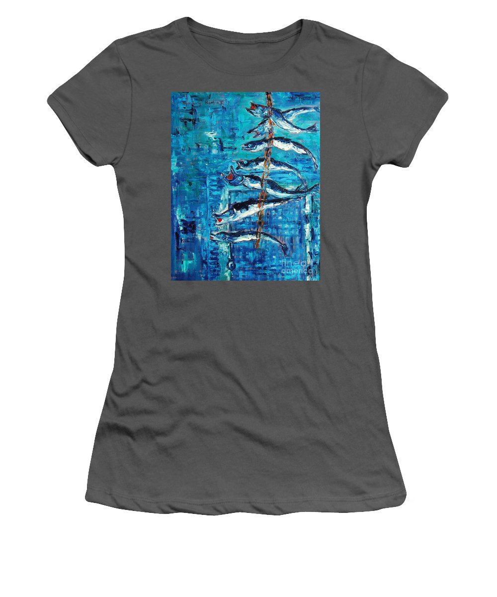 Fish Painting Women's T-Shirt (Athletic Fit) featuring the painting Caplin by Seon-Jeong Kim