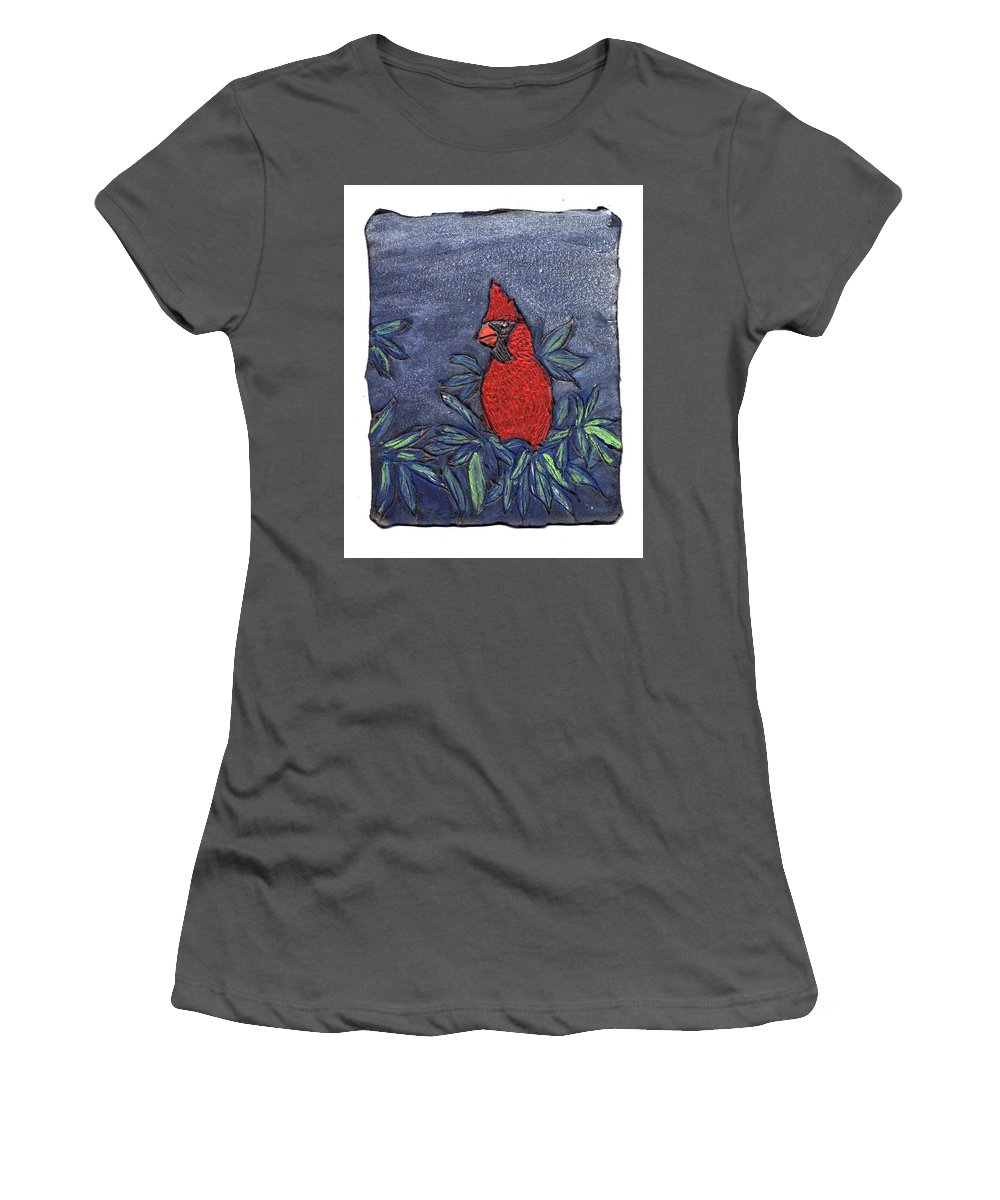 Bird Women's T-Shirt (Athletic Fit) featuring the painting Cardinal In Winter by Wayne Potrafka