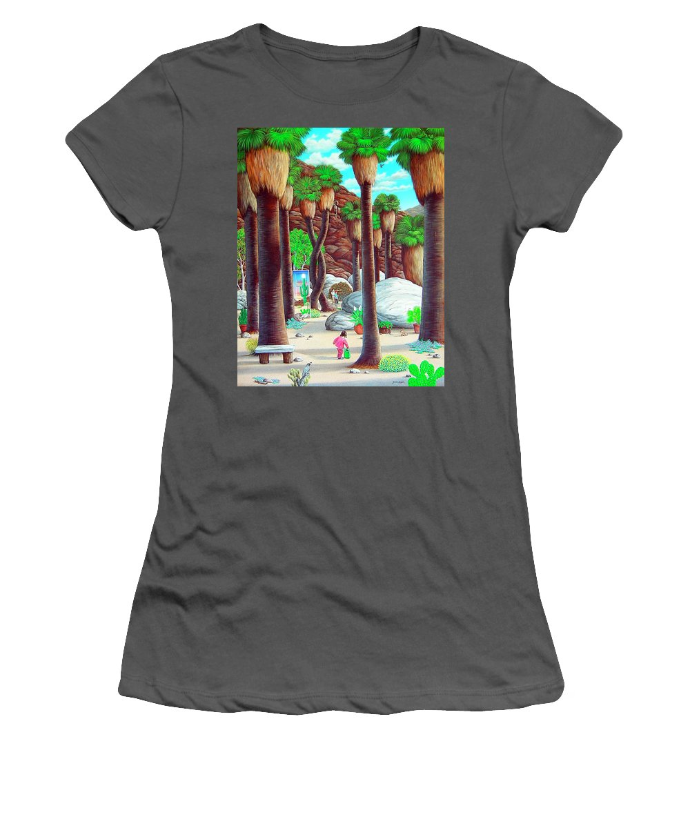 Canyon Women's T-Shirt (Athletic Fit) featuring the painting Caretaker by Snake Jagger