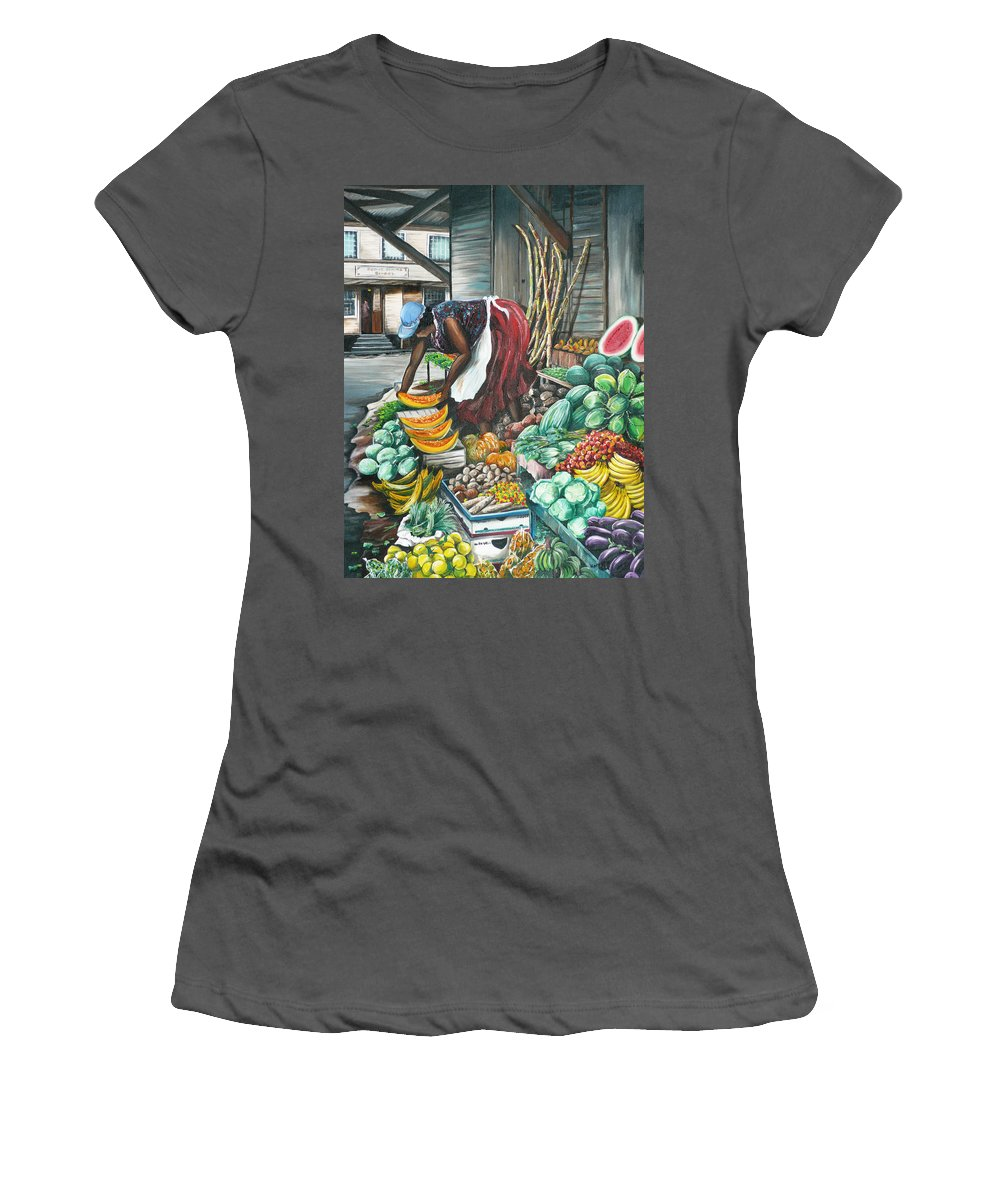 Caribbean Painting Market Vendor Painting Caribbean Market Painting Fruit Painting Vegetable Painting Woman Painting Tropical Painting City Scape Trinidad And Tobago Painting Typical Roadside Market Vendor In Trinidad Women's T-Shirt (Junior Cut) featuring the painting Caribbean Market Day by Karin Dawn Kelshall- Best