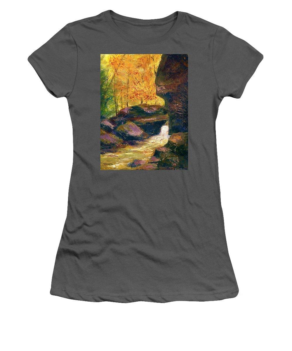 Kentucky Women's T-Shirt (Athletic Fit) featuring the painting Carter Caves Kentucky by Gail Kirtz