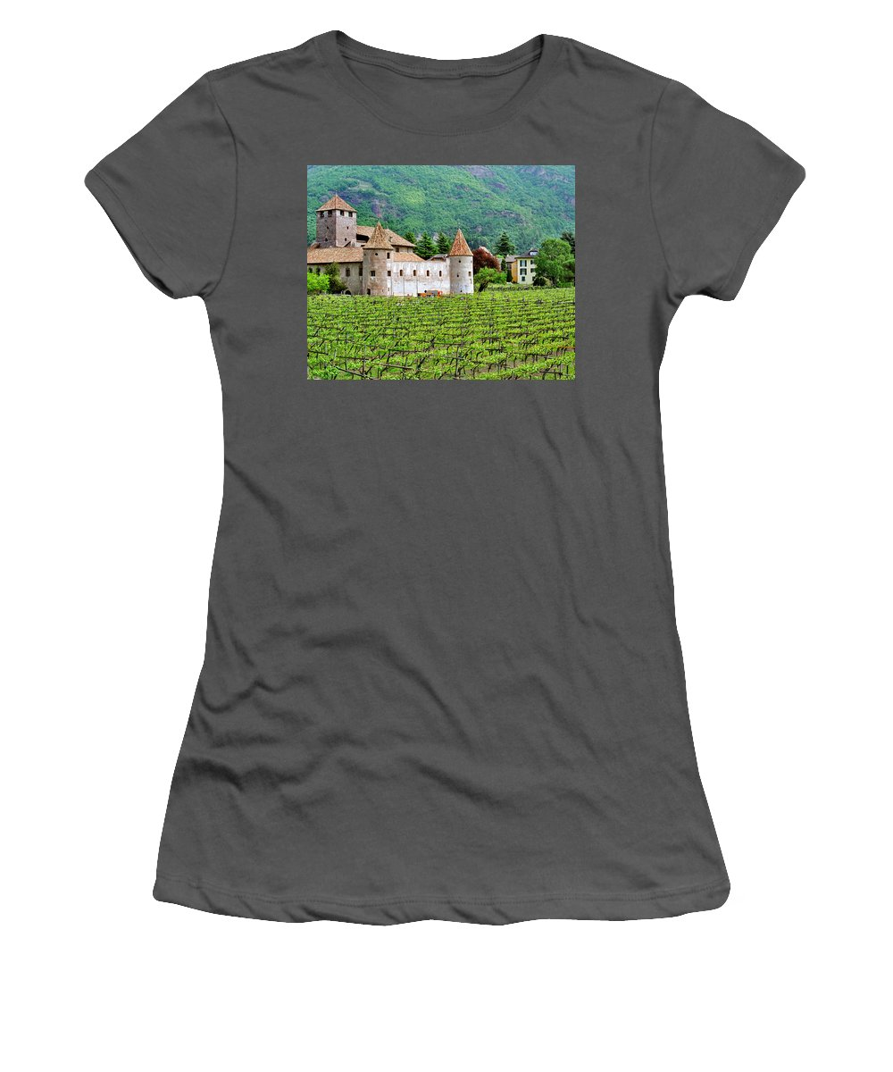 Castle Women's T-Shirt (Athletic Fit) featuring the photograph Castle And Vineyard In Italy by Greg Matchick