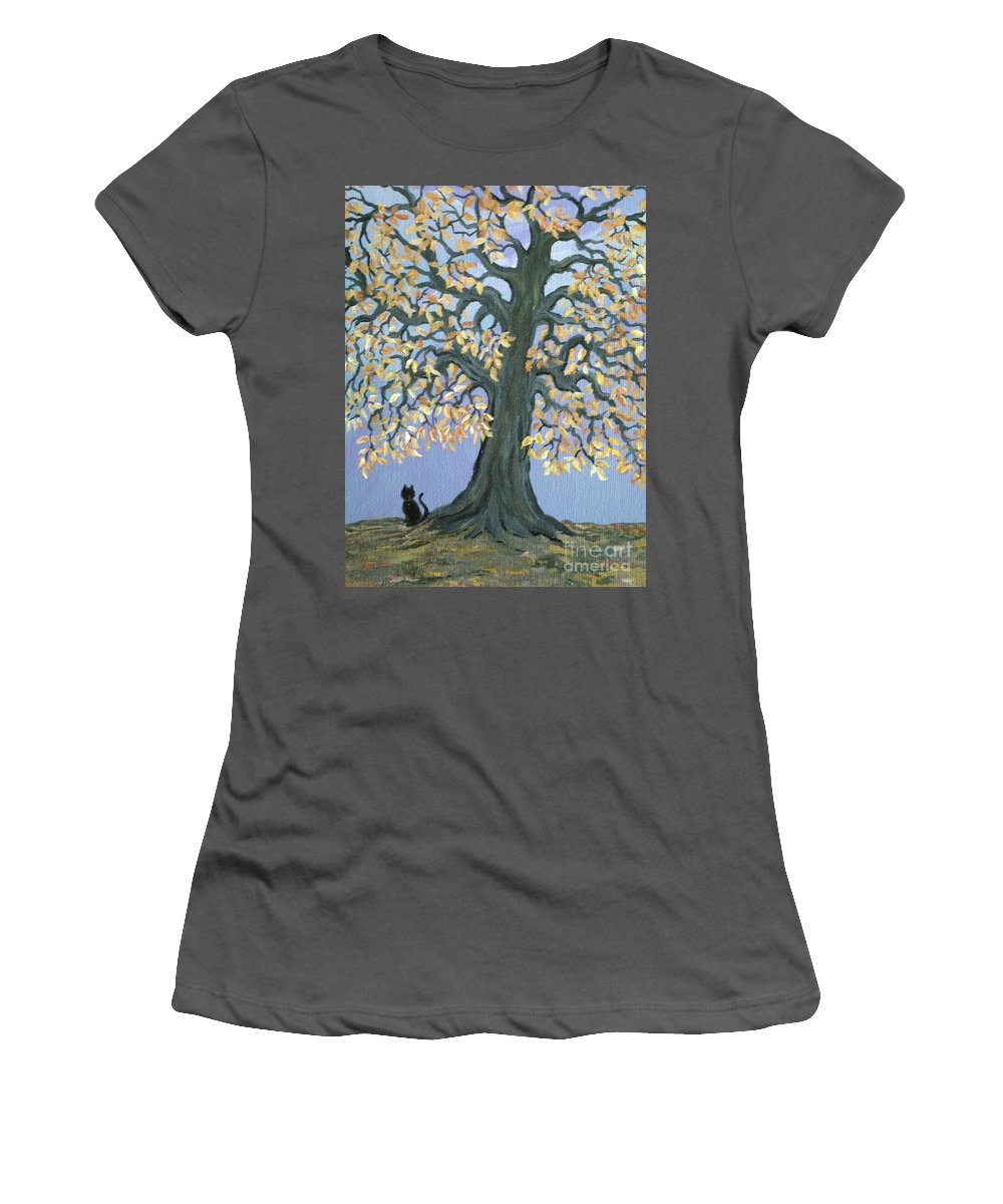 Cat Women's T-Shirt (Athletic Fit) featuring the painting Cat And Crow by Nick Gustafson