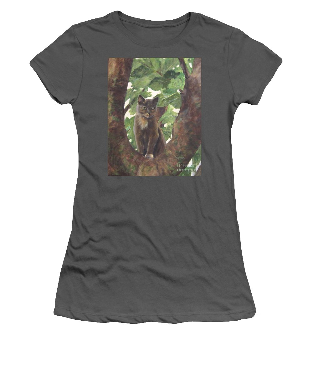 Cat Women's T-Shirt (Athletic Fit) featuring the painting Cat In Tree by Elizabeth Ellis