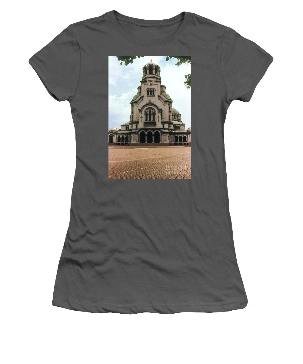 Cathedral Saint Alexandar Nevski Sofia Bulgaria Cathedrals Church Churches Building Buildings Structure Structures Brick Bricks Women's T-Shirt (Athletic Fit) featuring the photograph Cathedral Saint Alexandar Nevski by Bob Phillips