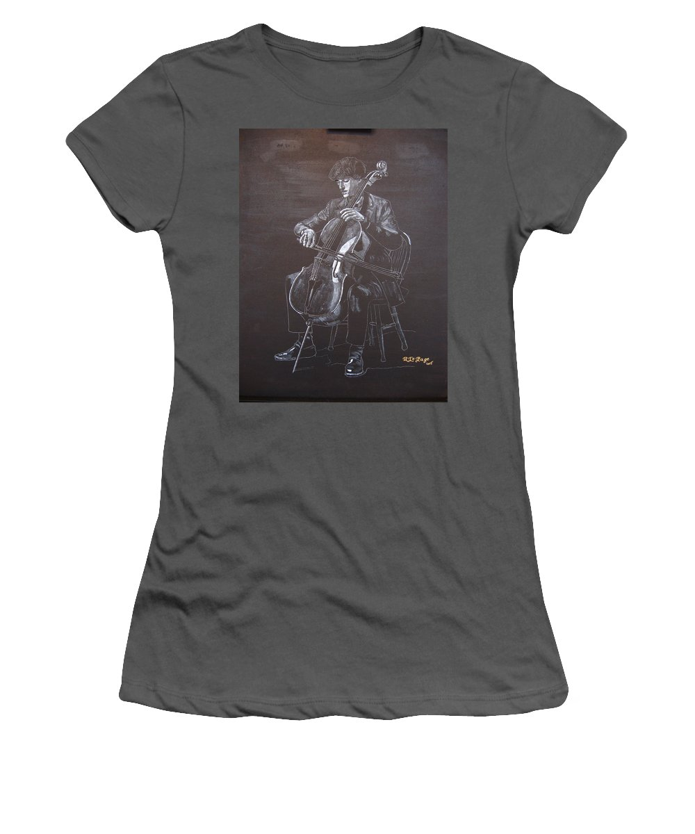 Cello Women's T-Shirt (Athletic Fit) featuring the painting Cello Player by Richard Le Page