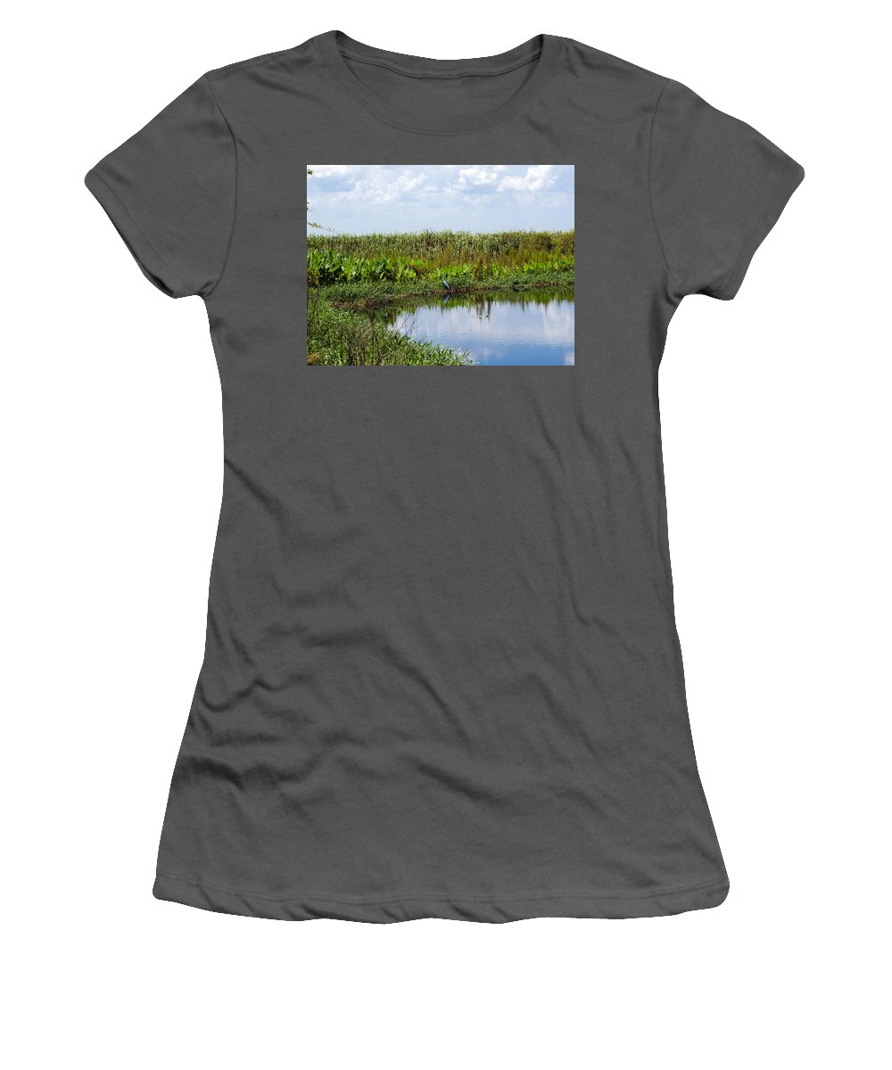 Florida; River; St; Johns; Saint; John; Flow; Flows; North; South D;; Flowing; Current; Back Women's T-Shirt (Athletic Fit) featuring the photograph Central Florida Backwater by Allan Hughes
