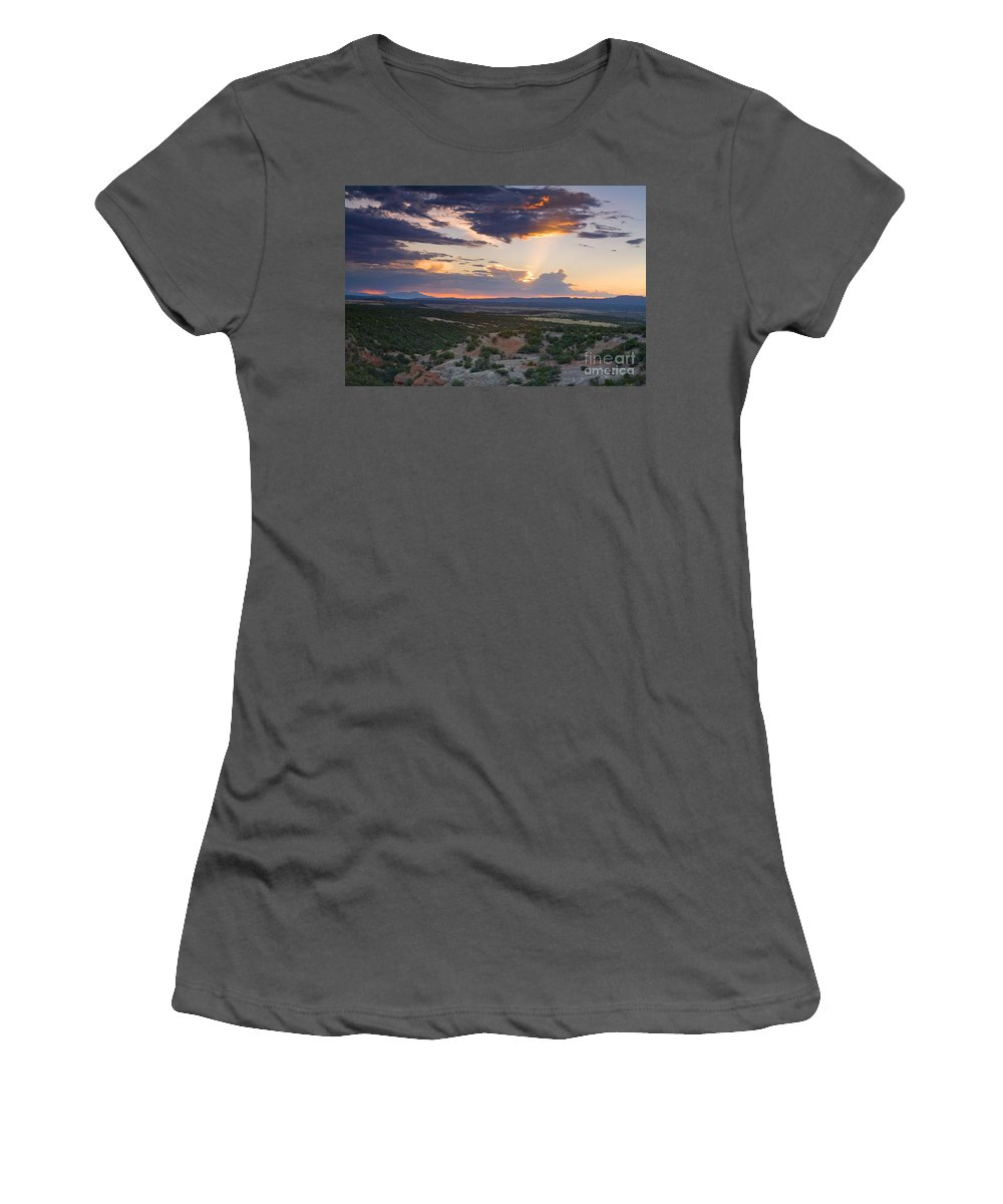 Landscape. Sunset Women's T-Shirt (Athletic Fit) featuring the photograph Central New Mexico Sunset by Matt Suess