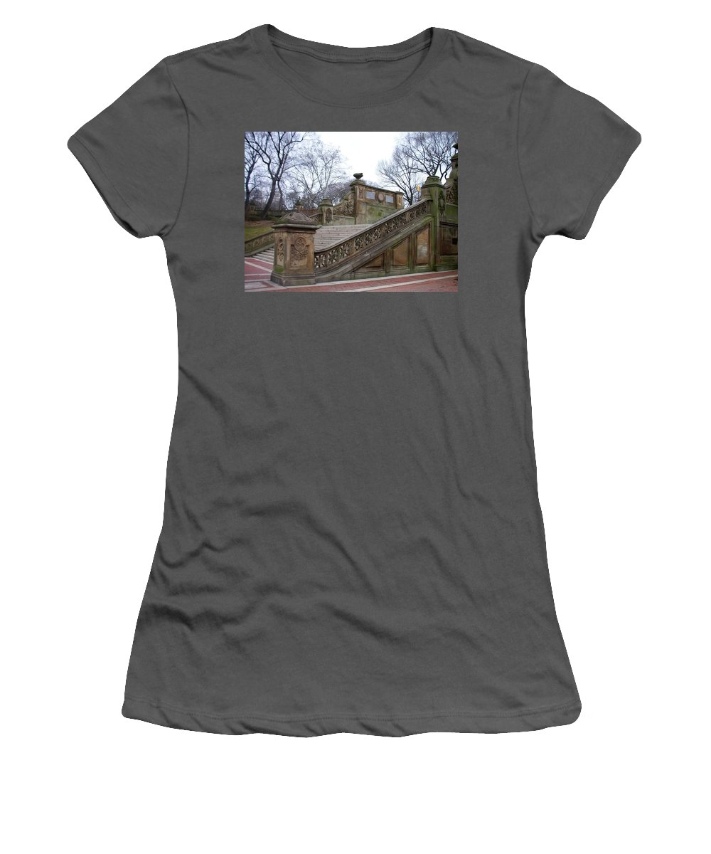 Central Park Women's T-Shirt (Athletic Fit) featuring the photograph Central Park Bethesda 1 by Anita Burgermeister