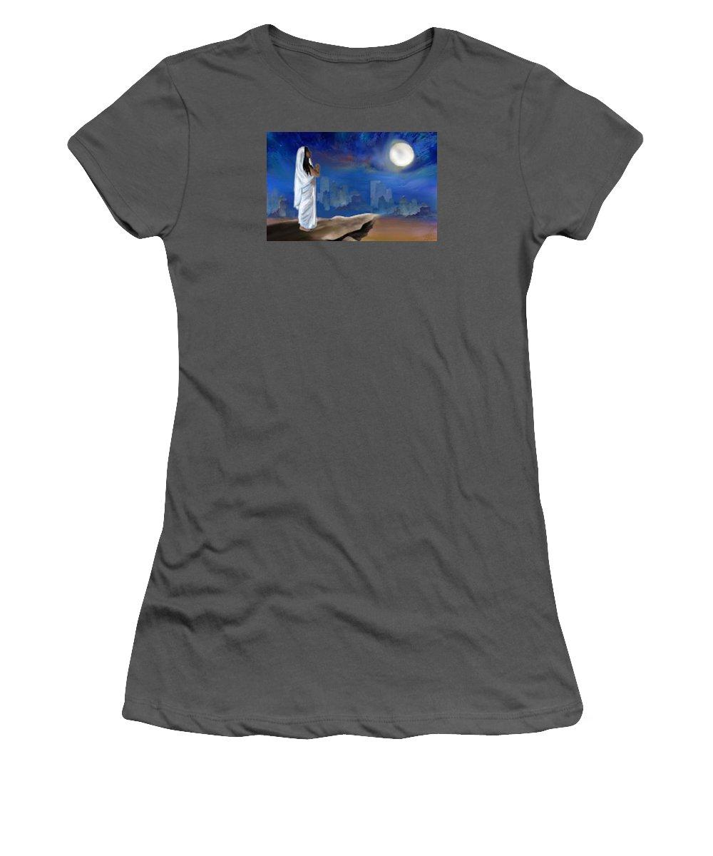 Moonlight Women's T-Shirt (Athletic Fit) featuring the digital art Chandra Namaskar by Shresta Ganesh