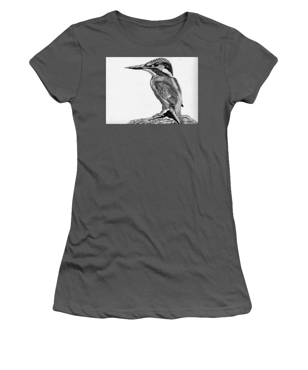 Kingfisher Women's T-Shirt (Athletic Fit) featuring the drawing Charcoal Kingfisher by Jay Johnston