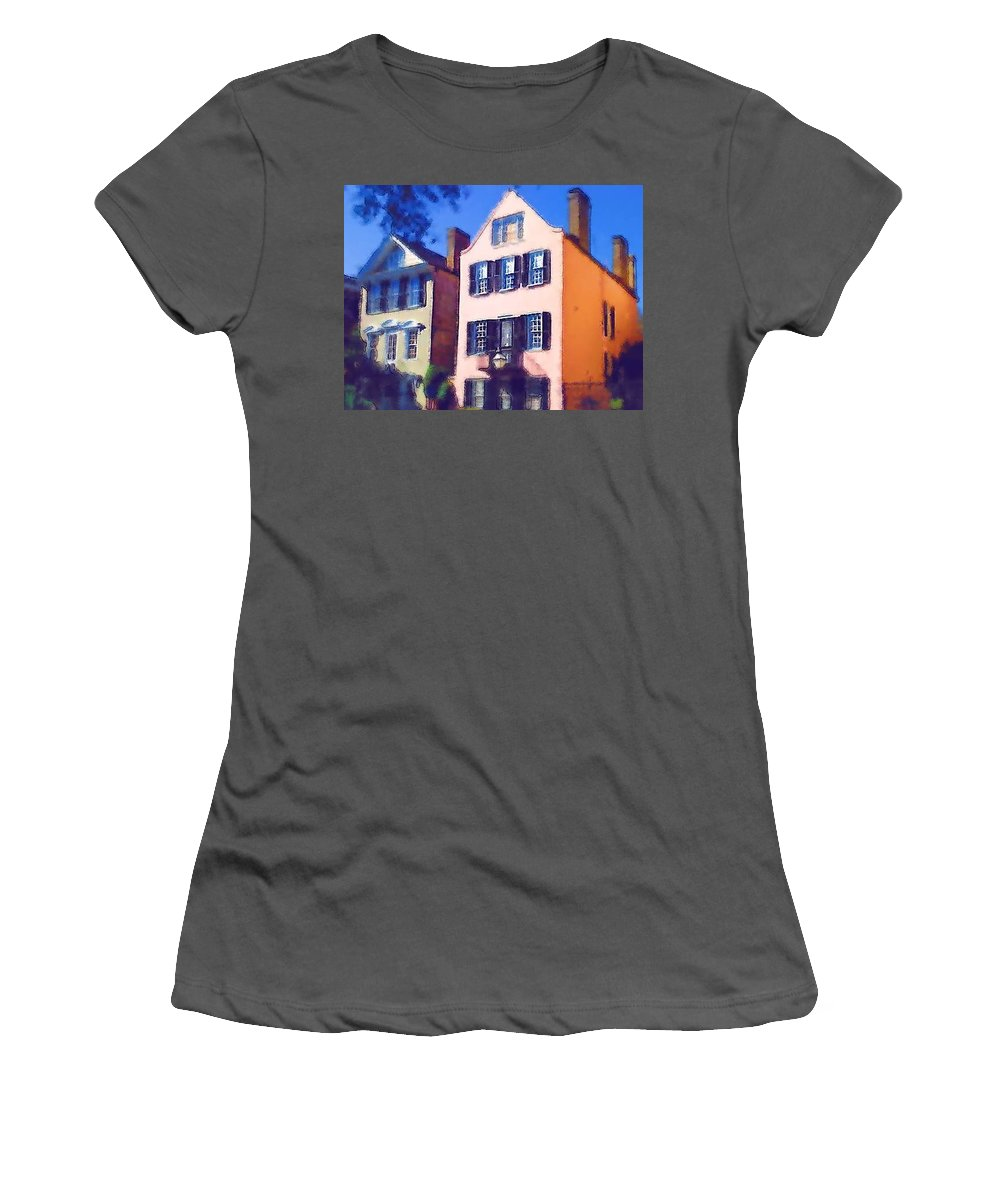 Homes Women's T-Shirt (Athletic Fit) featuring the photograph Charlestonians by Donna Bentley