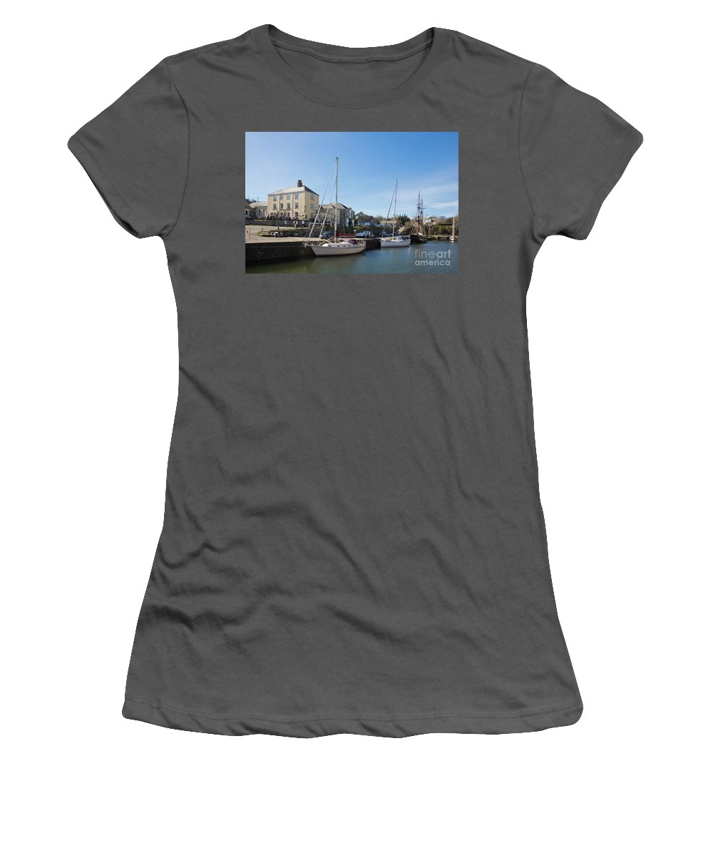 Charlestown Women's T-Shirt (Athletic Fit) featuring the photograph Charlestown Harbour Cornwall by Terri Waters