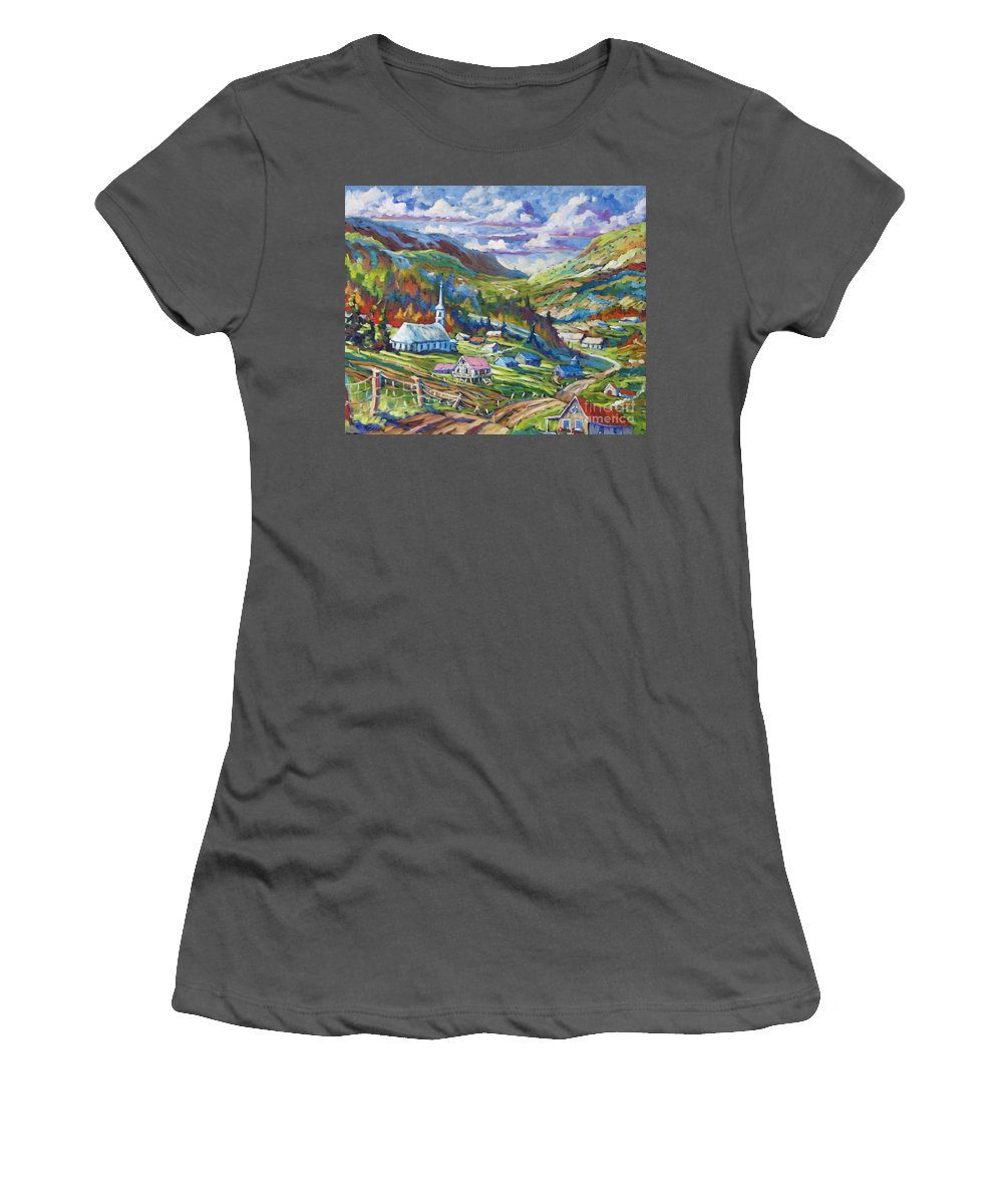 Charlevoix Women's T-Shirt (Athletic Fit) featuring the painting Charlevoix Inspiration by Richard T Pranke