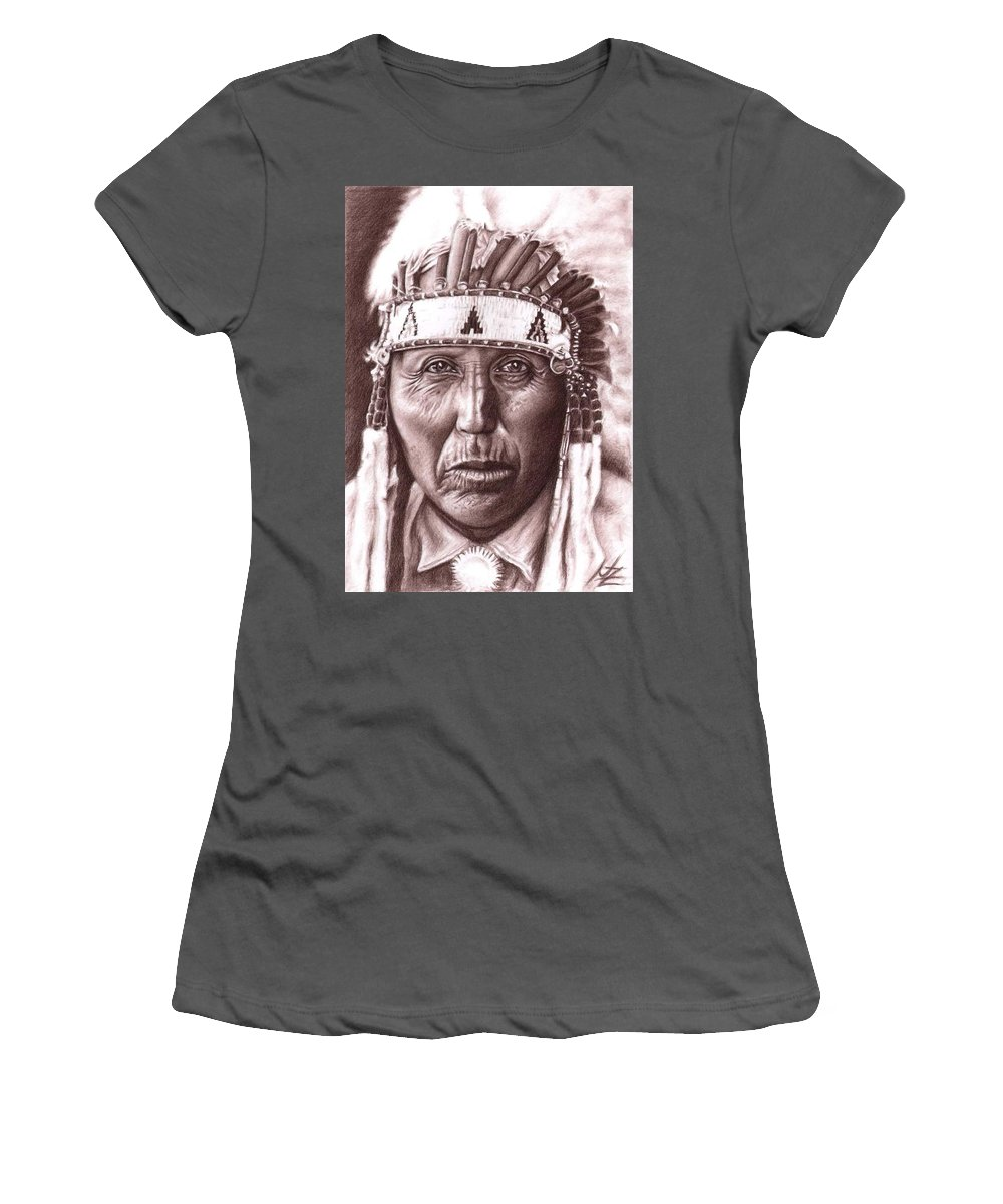 Indian Women's T-Shirt (Athletic Fit) featuring the drawing Cherokee by Nicole Zeug