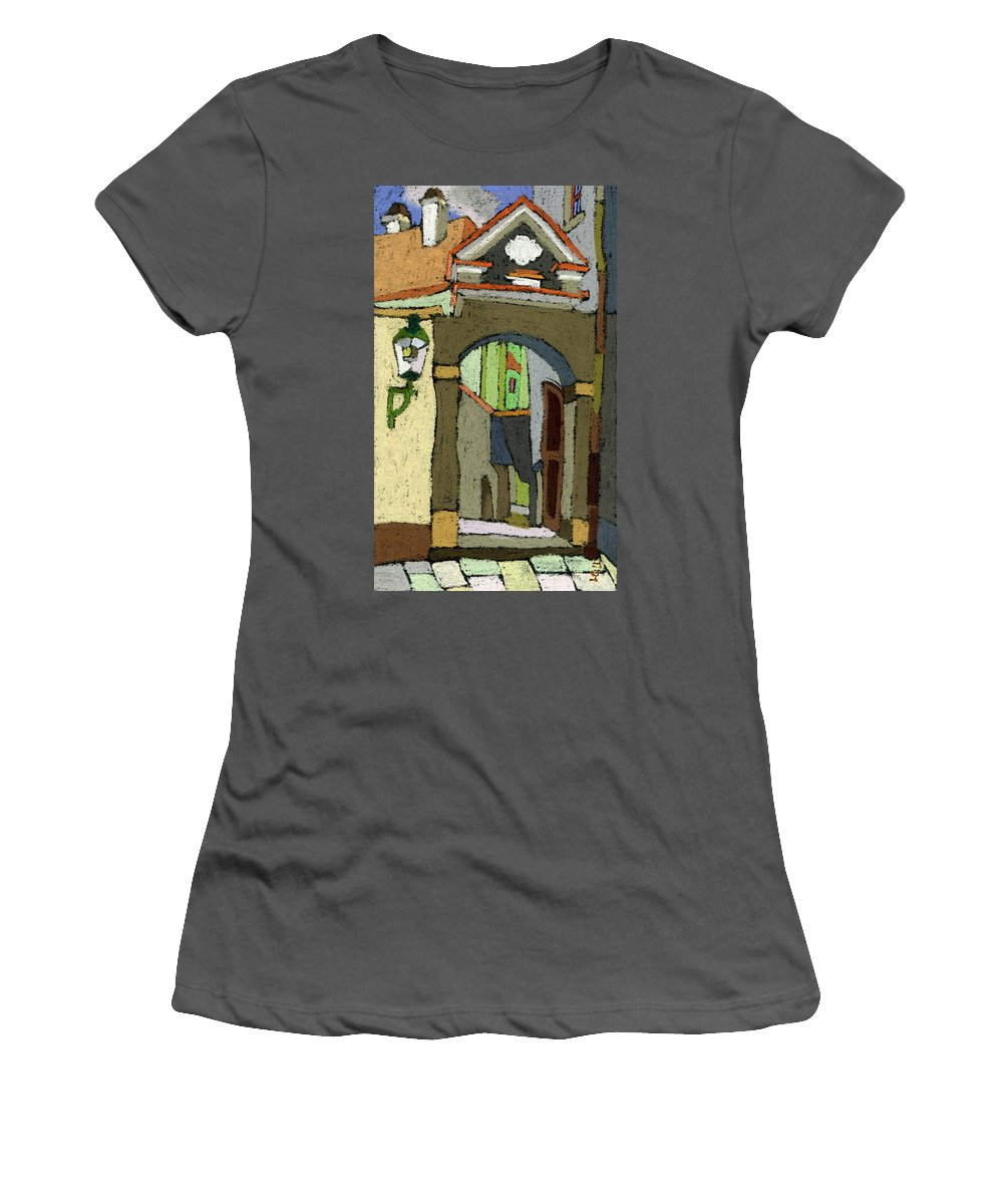 Pastel Women's T-Shirt (Athletic Fit) featuring the painting Chesky Krumlov Old Street Latran by Yuriy Shevchuk