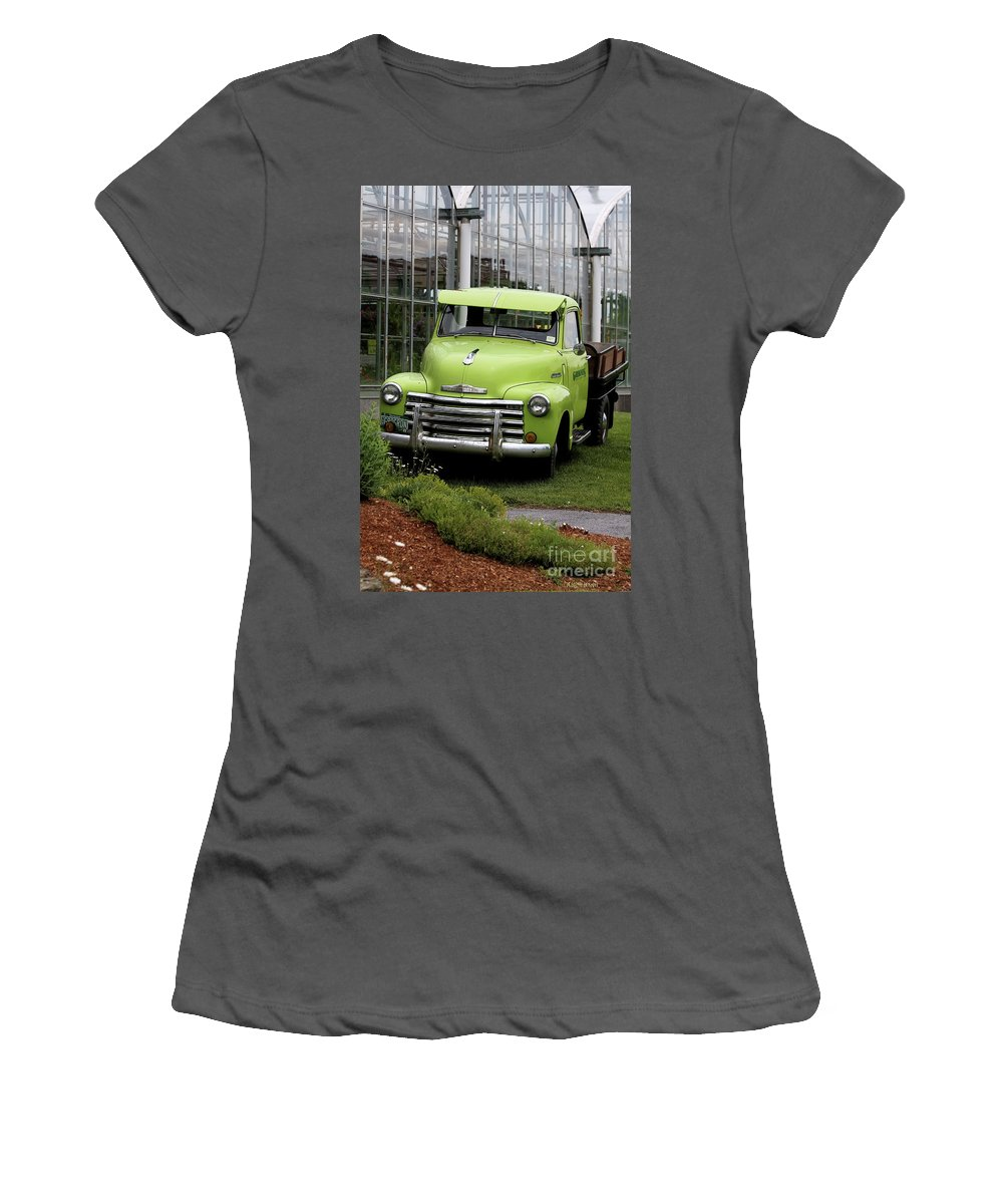Taken In Vermont At The Nursery I Used To Go To. Women's T-Shirt (Athletic Fit) featuring the photograph Chevrolet Old by Deborah Benoit