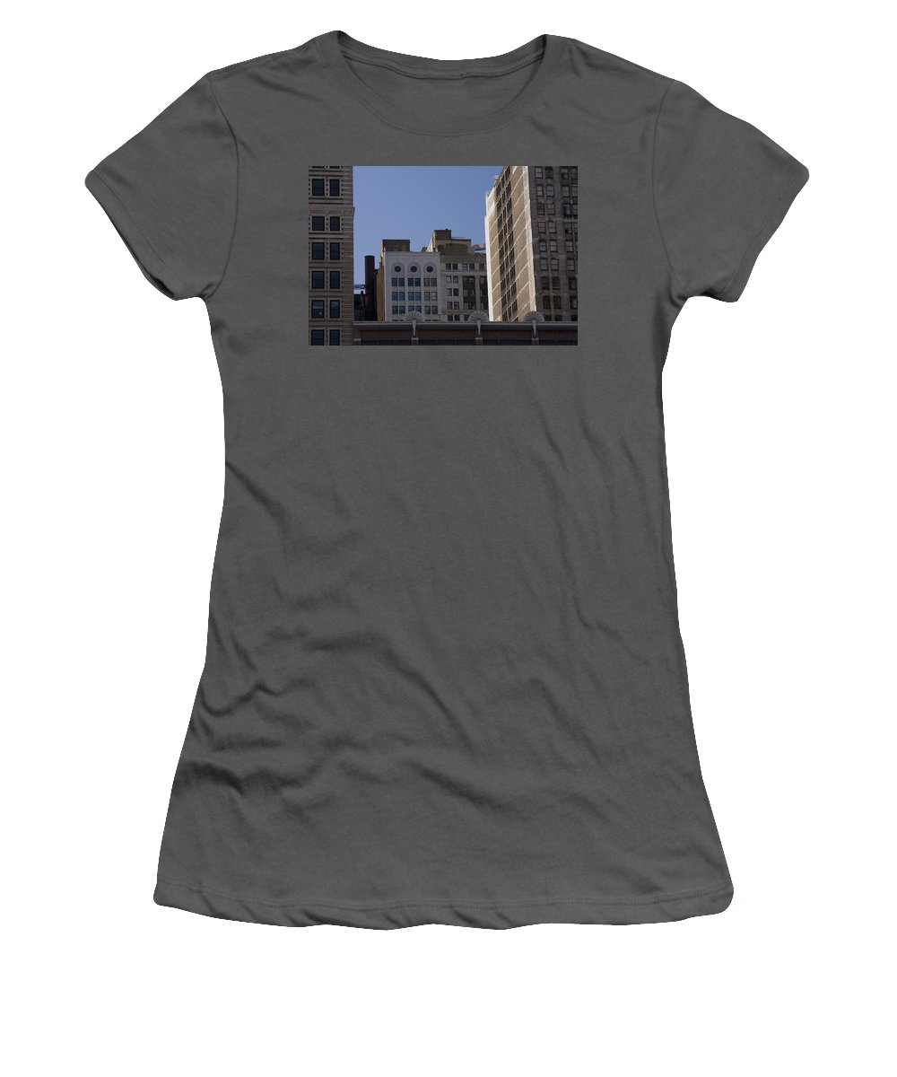 Chicago City Wind Windy Metro Urban Building Blue Sky Tall Big Windows Women's T-Shirt (Athletic Fit) featuring the photograph Chicago Buildings by Andrei Shliakhau