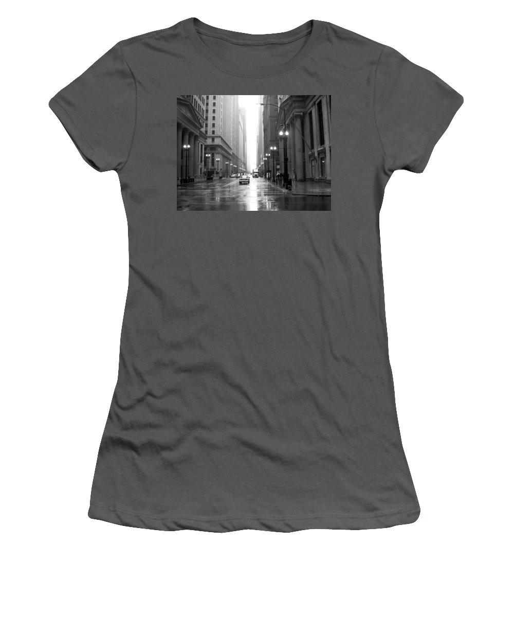 Chicago Women's T-Shirt (Athletic Fit) featuring the photograph Chicago In The Rain B-w by Anita Burgermeister