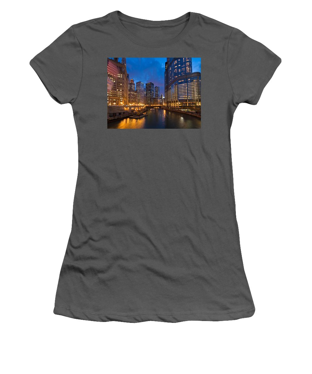 Architecture Women's T-Shirt (Athletic Fit) featuring the photograph Chicago River Lights by Steve Gadomski