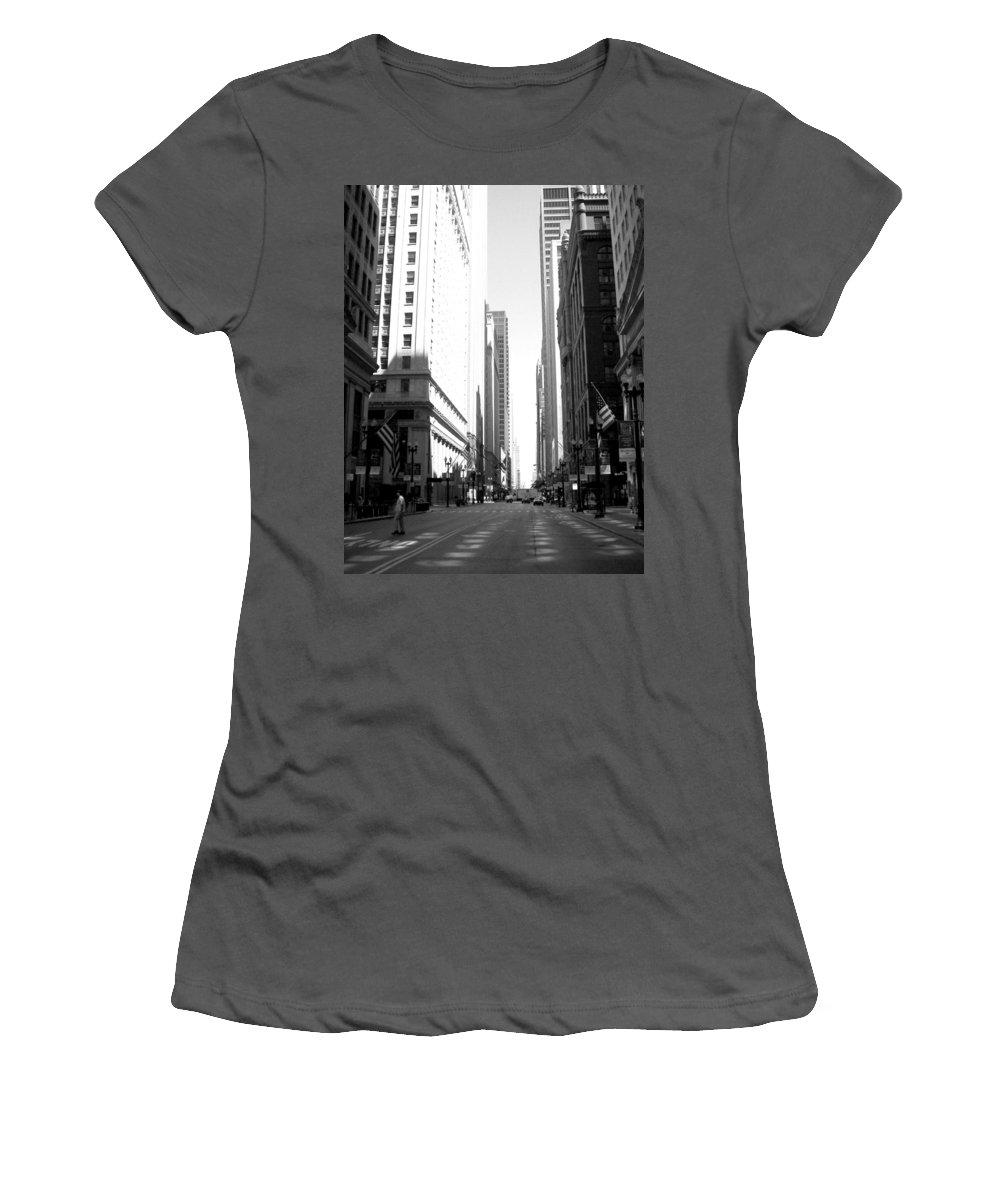 Chicago Women's T-Shirt (Athletic Fit) featuring the photograph Chicago Street With Flags B-w by Anita Burgermeister