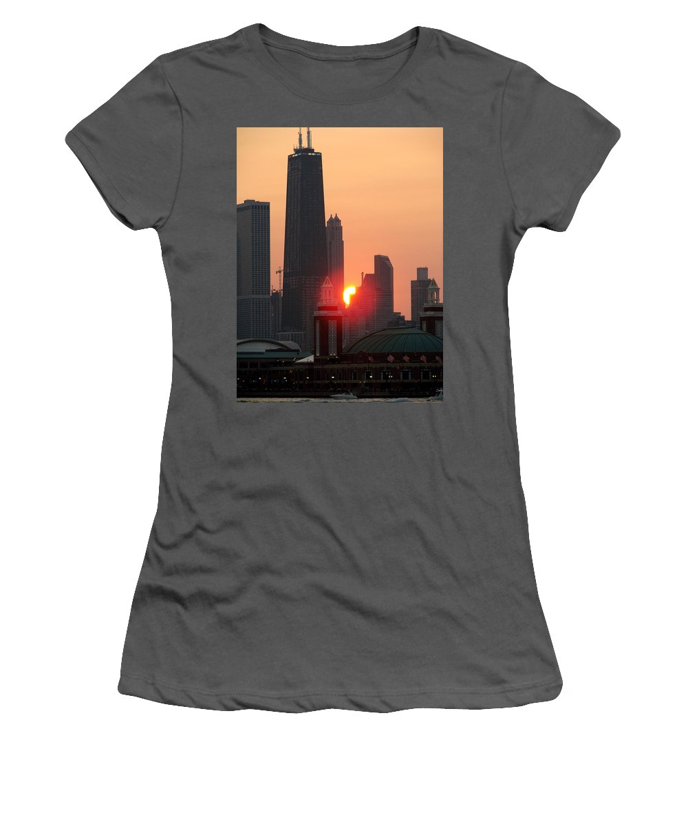 Photography Women's T-Shirt (Athletic Fit) featuring the photograph Chicago Sunset by Glory Fraulein Wolfe