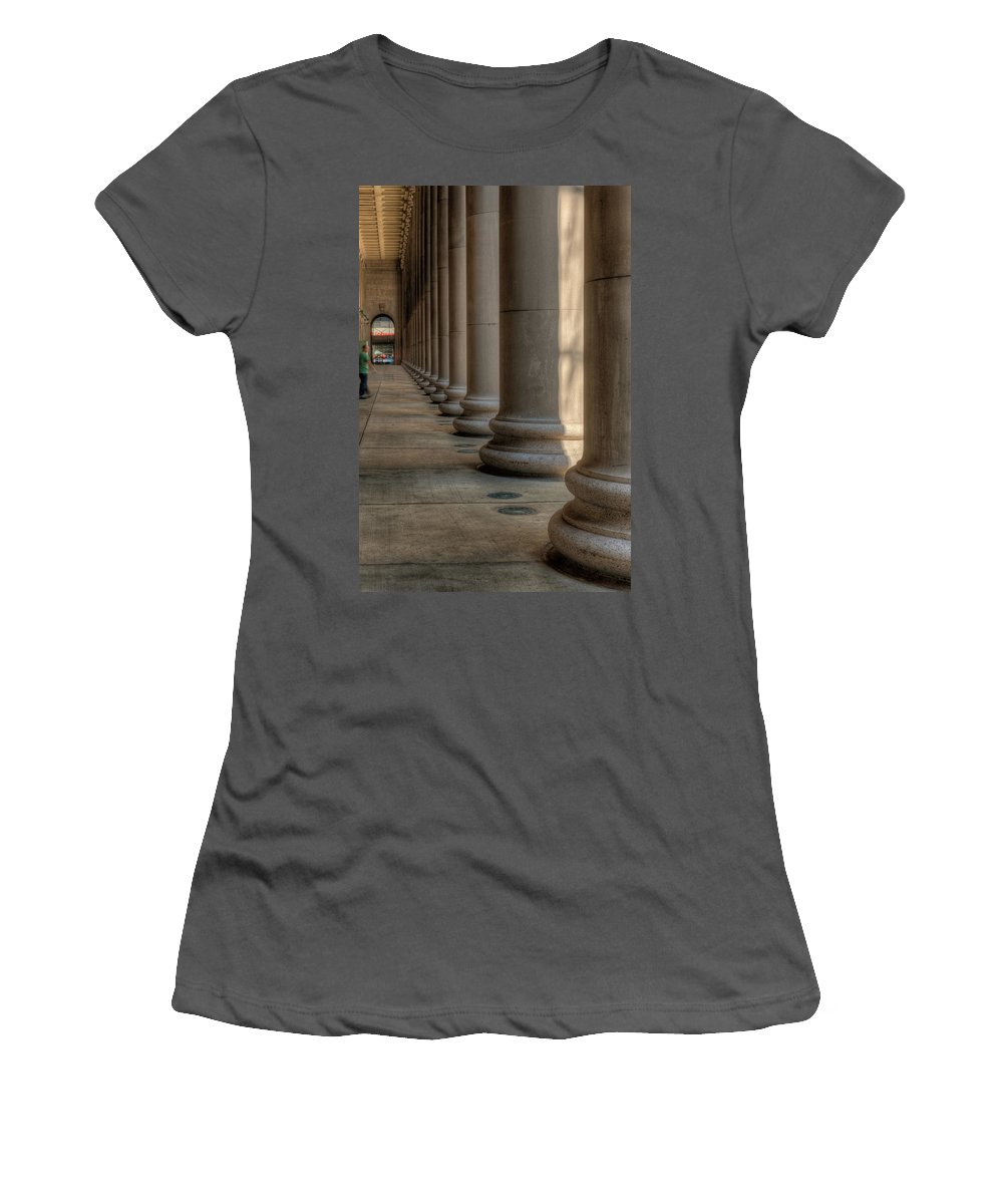 Chicago Women's T-Shirt (Athletic Fit) featuring the photograph Chicagos Union Station Exterior by Steve Gadomski