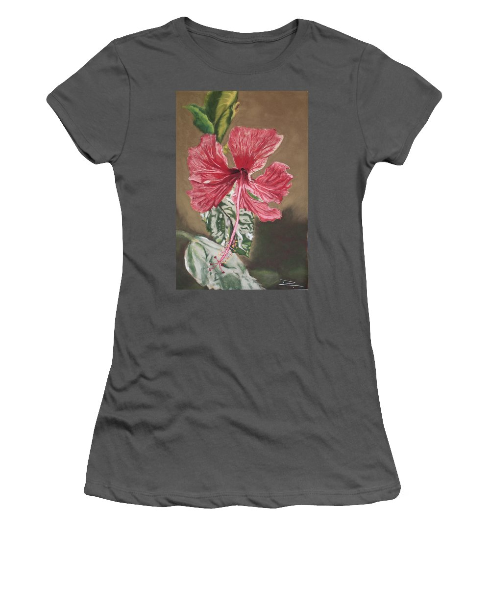 Flower Women's T-Shirt (Athletic Fit) featuring the painting China Rose by D Turner