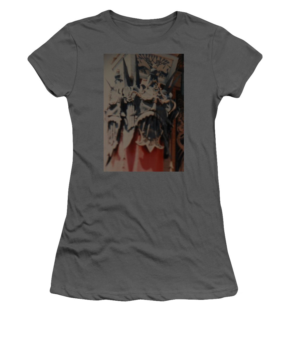 Grumanns Chinese Theater Women's T-Shirt (Athletic Fit) featuring the photograph Chinese Masks by Rob Hans