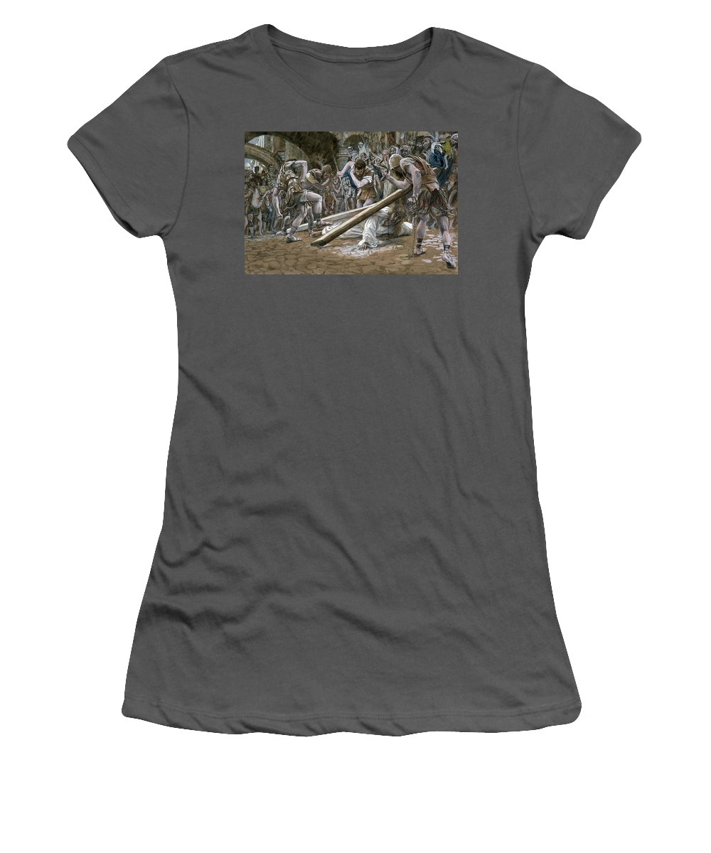 Fallen Women's T-Shirt (Athletic Fit) featuring the painting Christ Falls Beneath The Cross by Tissot