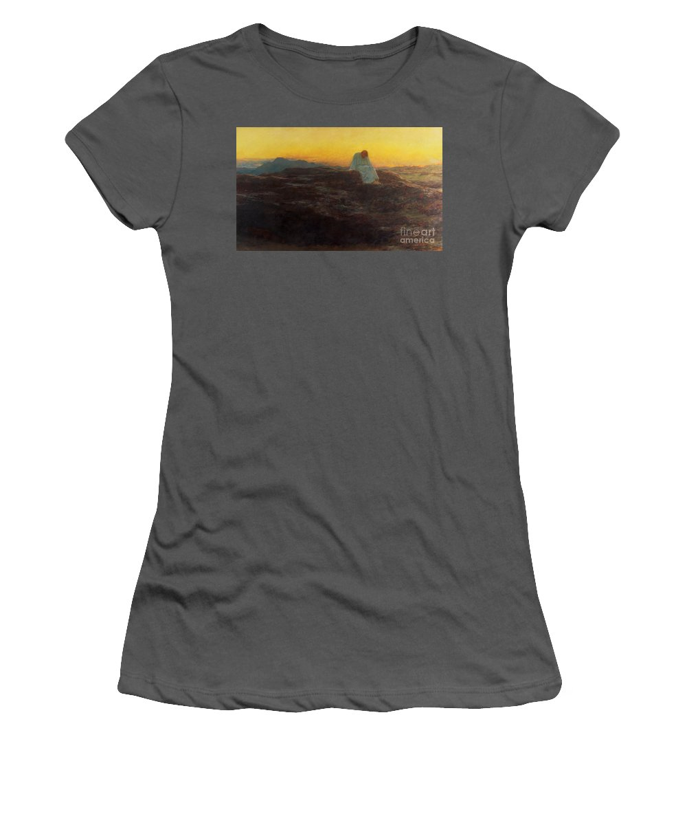 Christ In The Wilderness Women's T-Shirt (Athletic Fit) featuring the painting Christ In The Wilderness by Briton Riviere