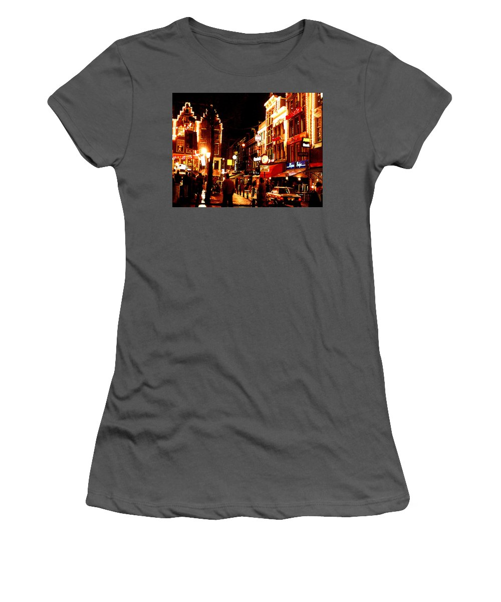 Night Women's T-Shirt (Athletic Fit) featuring the photograph Christmas In Amsterdam by Nancy Mueller