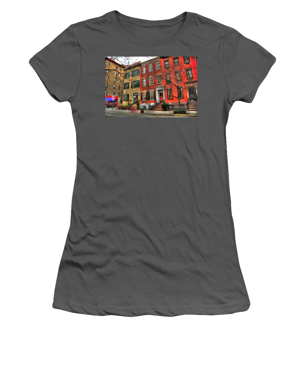 The Village Women's T-Shirt (Athletic Fit) featuring the photograph Christmas On Grove Street by Randy Aveille