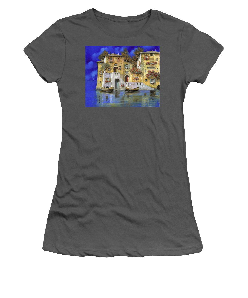Landscape Women's T-Shirt (Athletic Fit) featuring the painting Cieloblu by Guido Borelli